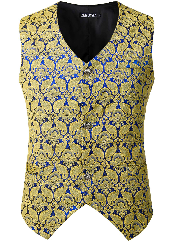 ZEROYAA Mens Single Breasted Vest Gothic Steampunk Victorian Brocade Waistcoat ZLSV10 Royal Yellow Medium by ZEROYAA
