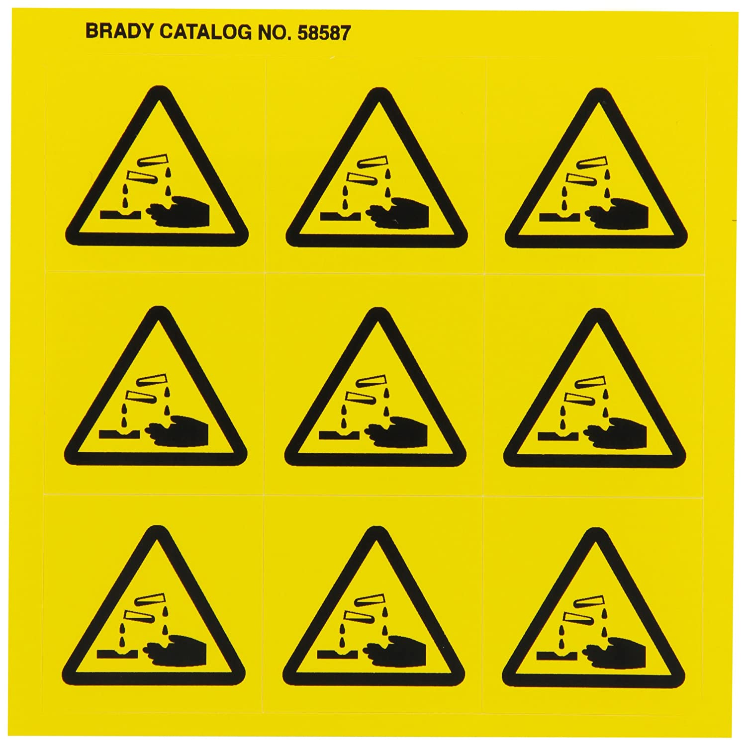 Black On Yellow 1 1//2 Height x 1 1//2 Width 9 Per Card, 1 Card per Package Brady 58587 Pressure Sensitive Vinyl Right-To-Know Pictogram Labels Pictogram Corrosive
