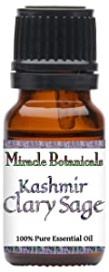 Miracle Botanicals Kashmir Clary Sage Essential Oil - 100% Pure Salvia Sclarea - Therapeutic Grade (10ml)
