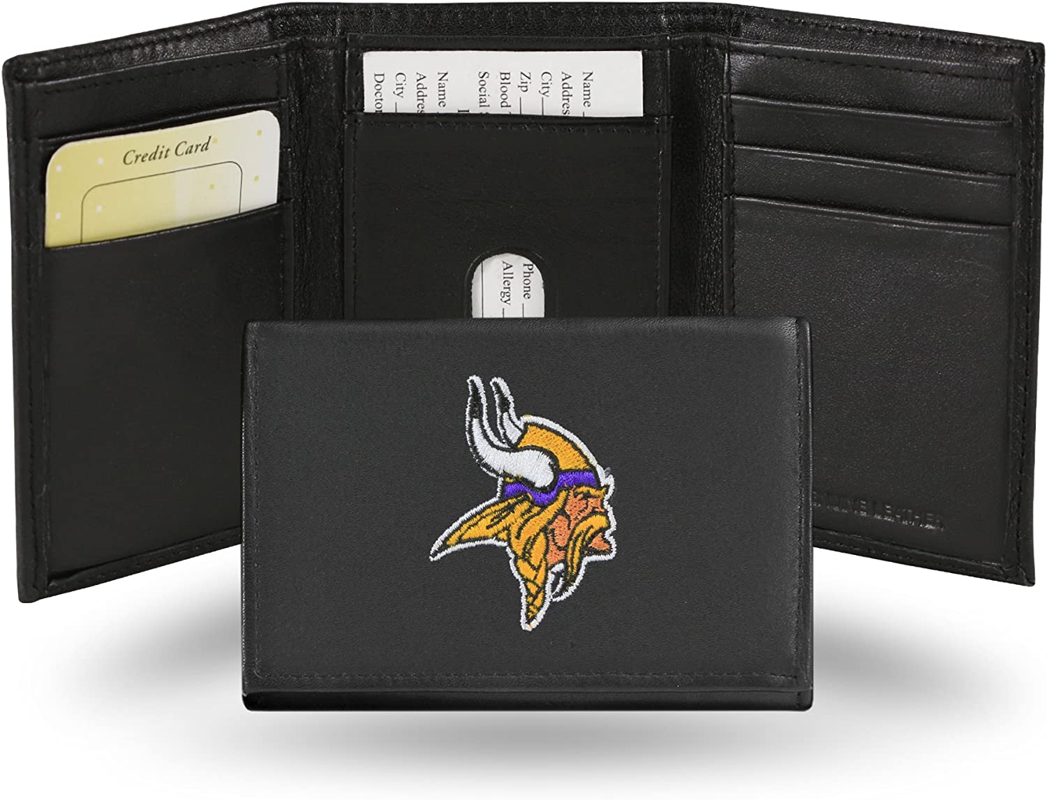 Minnesota Vikings Licensed Embroidered Leather Trifold Wallet NEW in Gift Tin