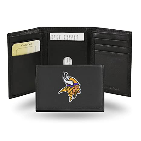 Image Unavailable. Image not available for. Color  Rico Industries NFL Minnesota  Vikings Embroidered Leather Trifold Wallet 106361b18