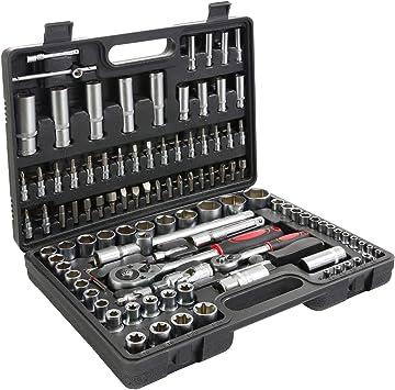 T-Lovendo TLV108p Maletin de Herramientas 108 pcs llaves carraca vasos puntas allen caja maleta: Amazon.es: Bricolaje y herramientas