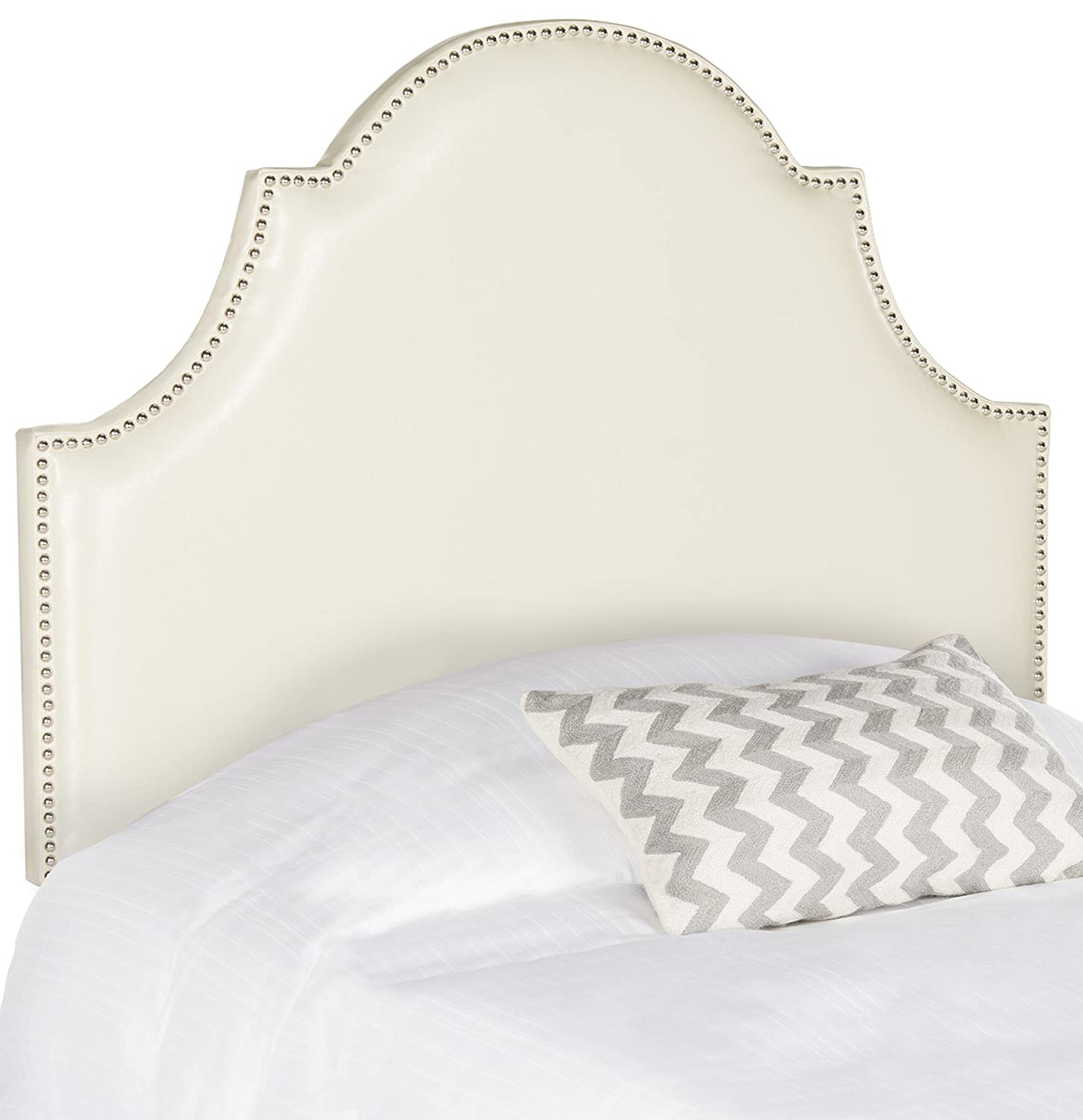 Flat Cream Twin Safavieh Hallmar Wedgwood bluee Upholstered Arched Headboard - Silver Nailhead (Queen)