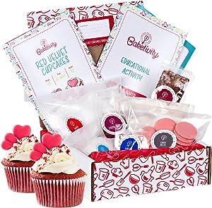 Baketivity Red Velvet Cookie Making Kit for Kids - DIY Baking Set with Pre-Measured Ingredients for Children Ages 6 and Older - Includes Vanilla Sugar, Confectioner's Sugar, Flour, Salt, and Sprinkles