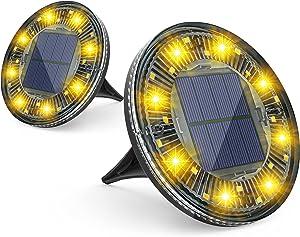 LOFTEK Solar Ground Lights, 24 LED Solar Garden Lights Disk Lights, IP68 Waterproof Outdoor Solar Powered Landscape Lights for Yard Pathway Walkway Patio Lawn Driveway Decoration, Warm White, 2 Pack