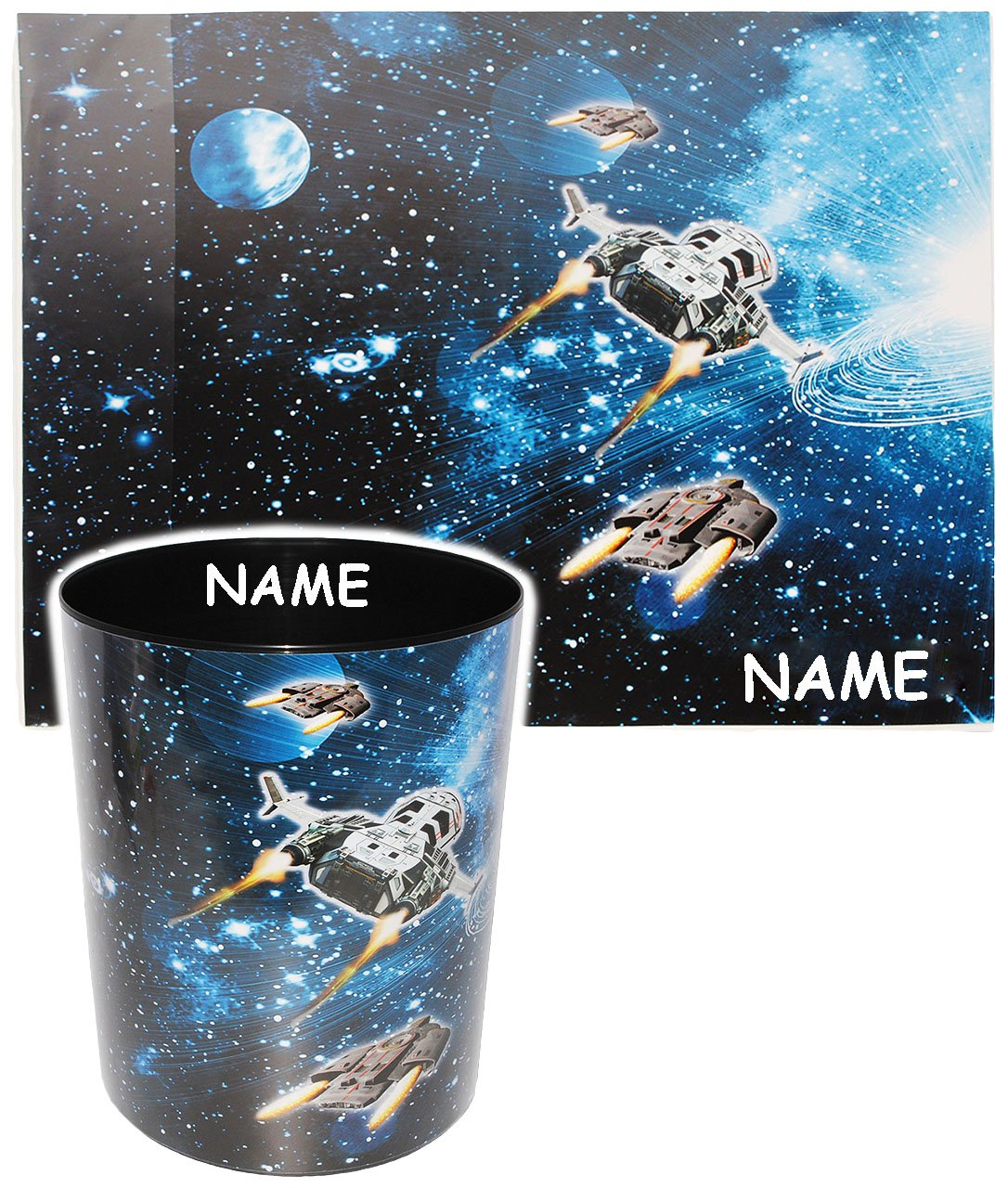 Weltraum M/ülleimer // Eimer Schreibtischset incl Tisc.. 2 TLG Space Name Raumschiff aus Kunststoff Set /_ Schreibtischunterlage /& Papierkorb