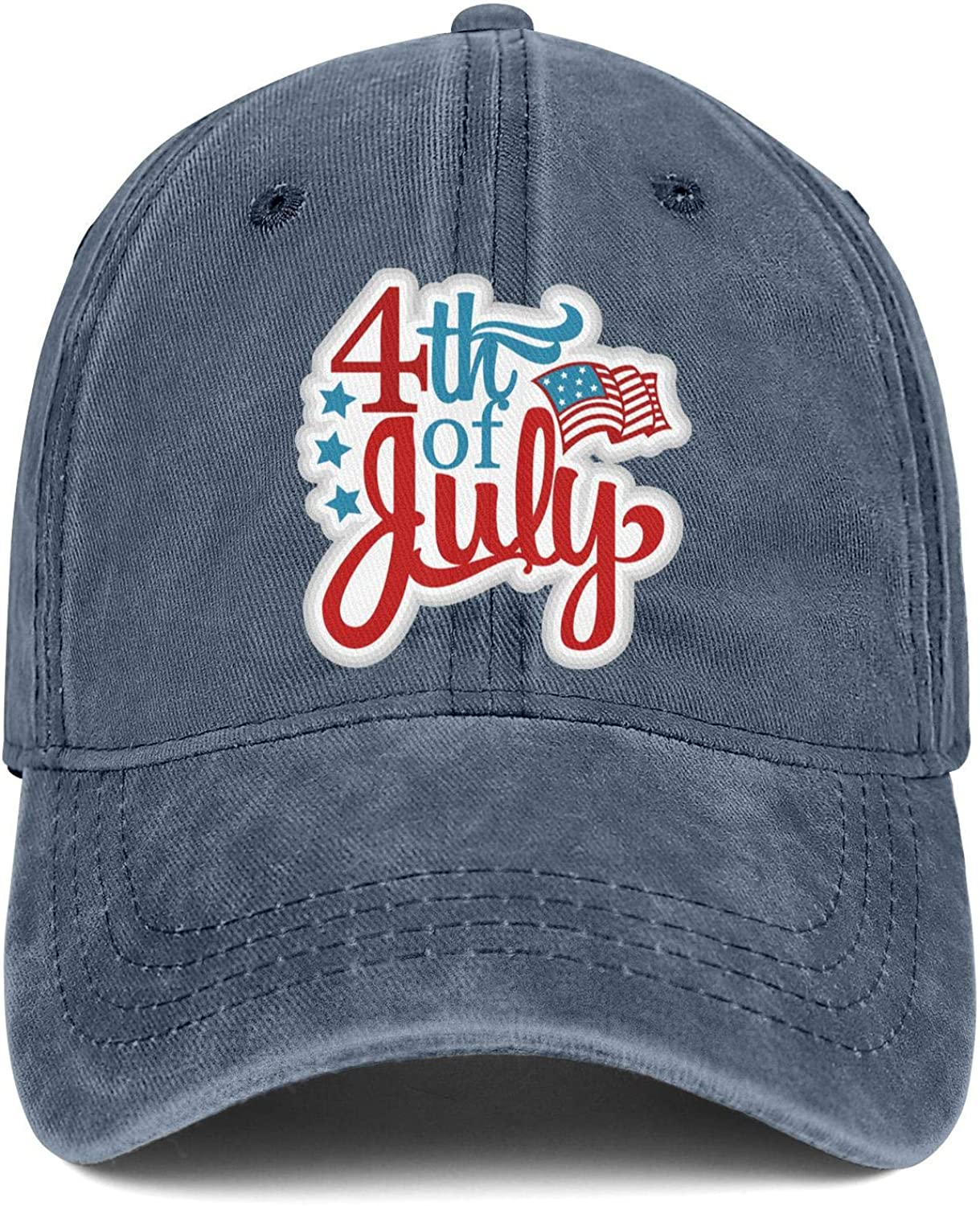 NNJA 4th of July American Flag Vector Unisex Baseball Curved Casual Structured Snapback Cap