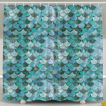 3f65e9f57703 Amazon.com  Chaming Pastel Mermaid Bath Shower Curtain Fabric ...
