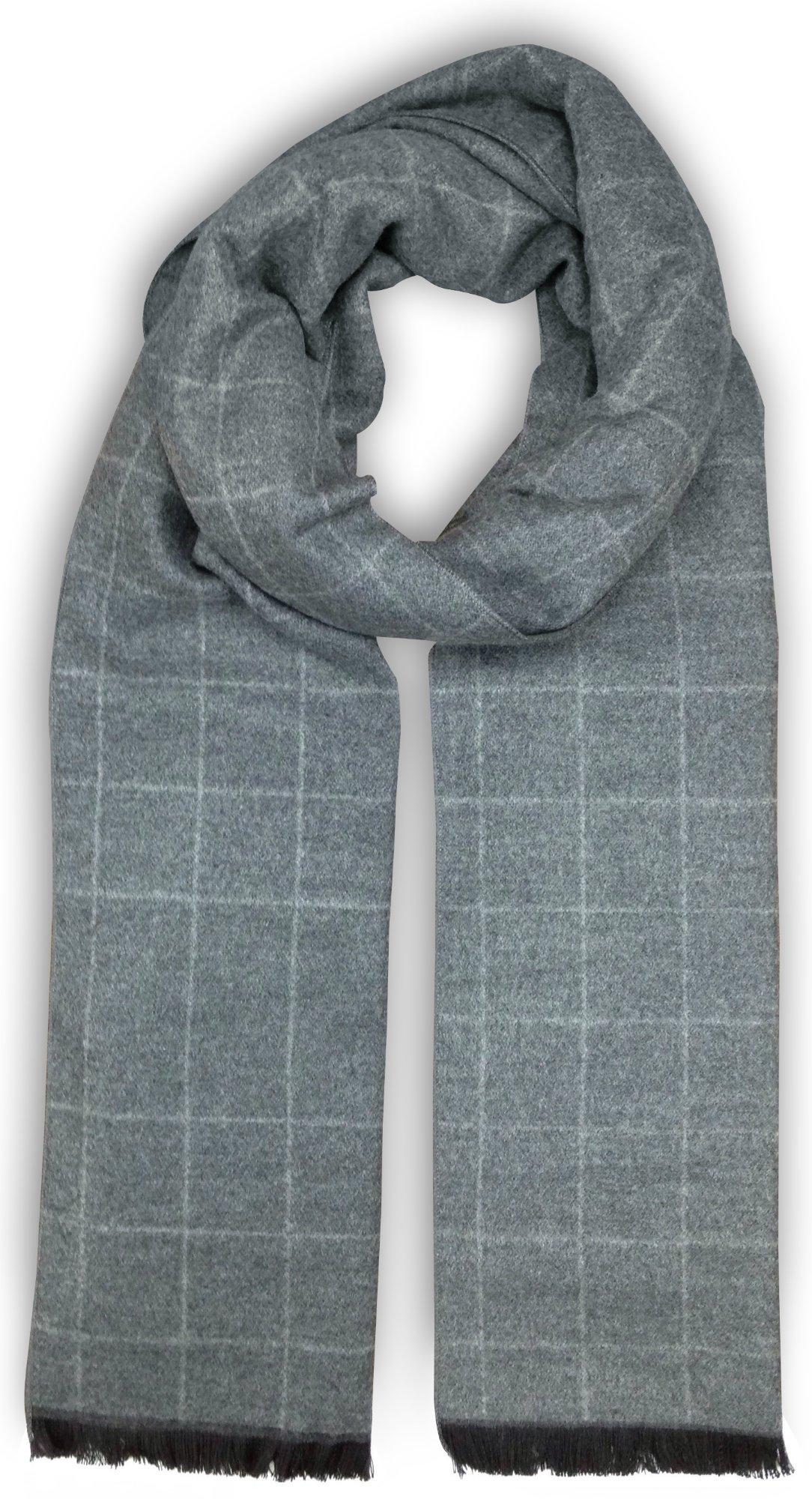 Bleu Nero Luxurious Winter Scarf for Men and Women – Large Selection of Unique Design Scarves – Super Soft Premium Cashmere Feel Grey Light-Grey Grid