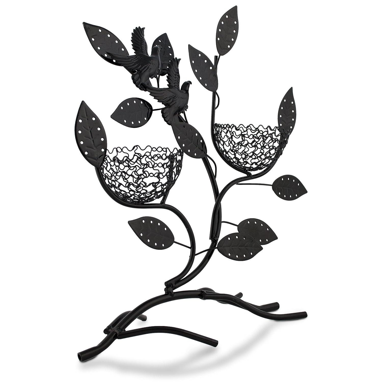 Portagioie a forma di ramo con nidi - Nero ca. 31 x 30 x 11 cm - Espositore per orecchini e piccoli gioielli - Grinscard