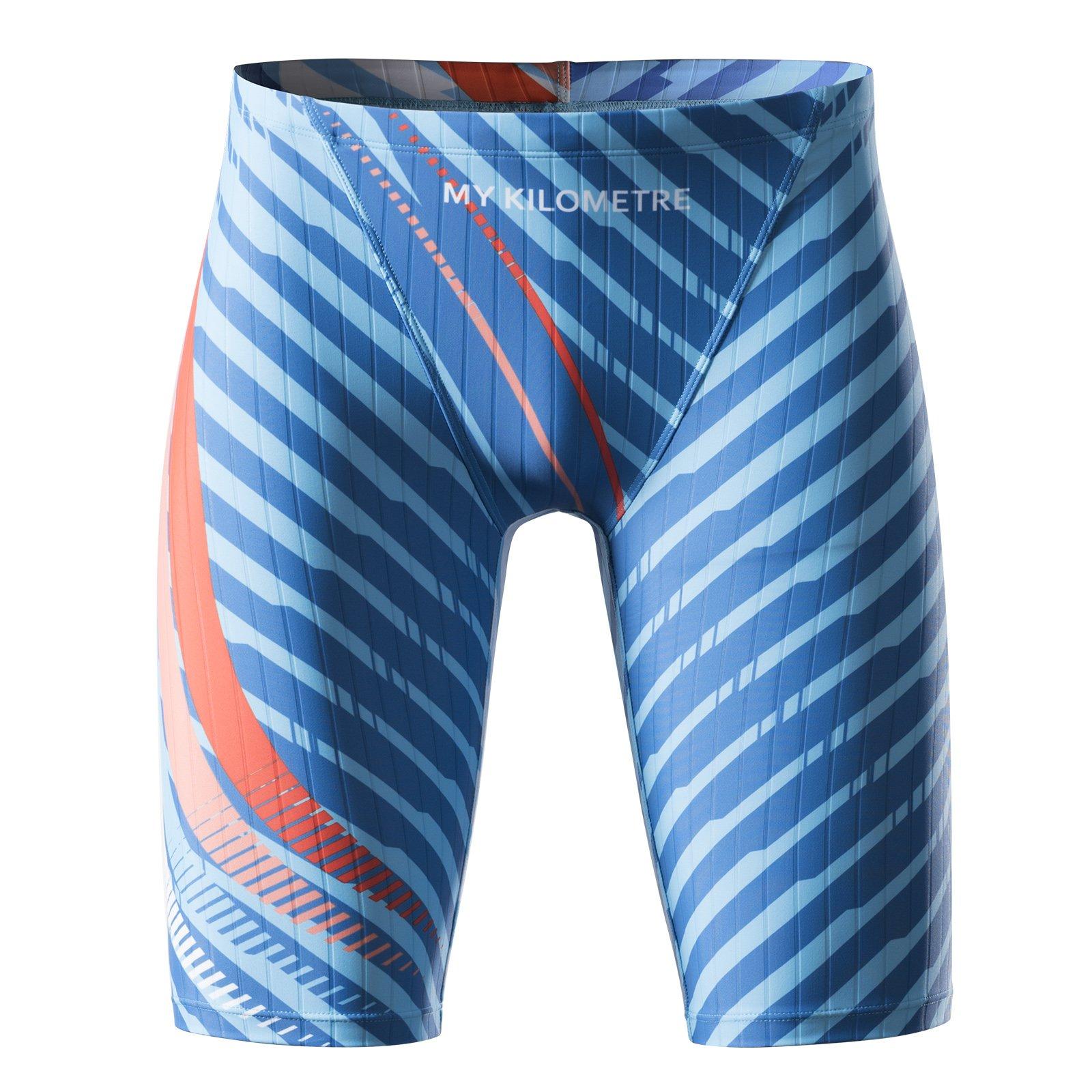 MY KILOMETRE Men's Swim Jammers – Quick-Dry Swimsuit – Chlorine Resistant(L Blue)