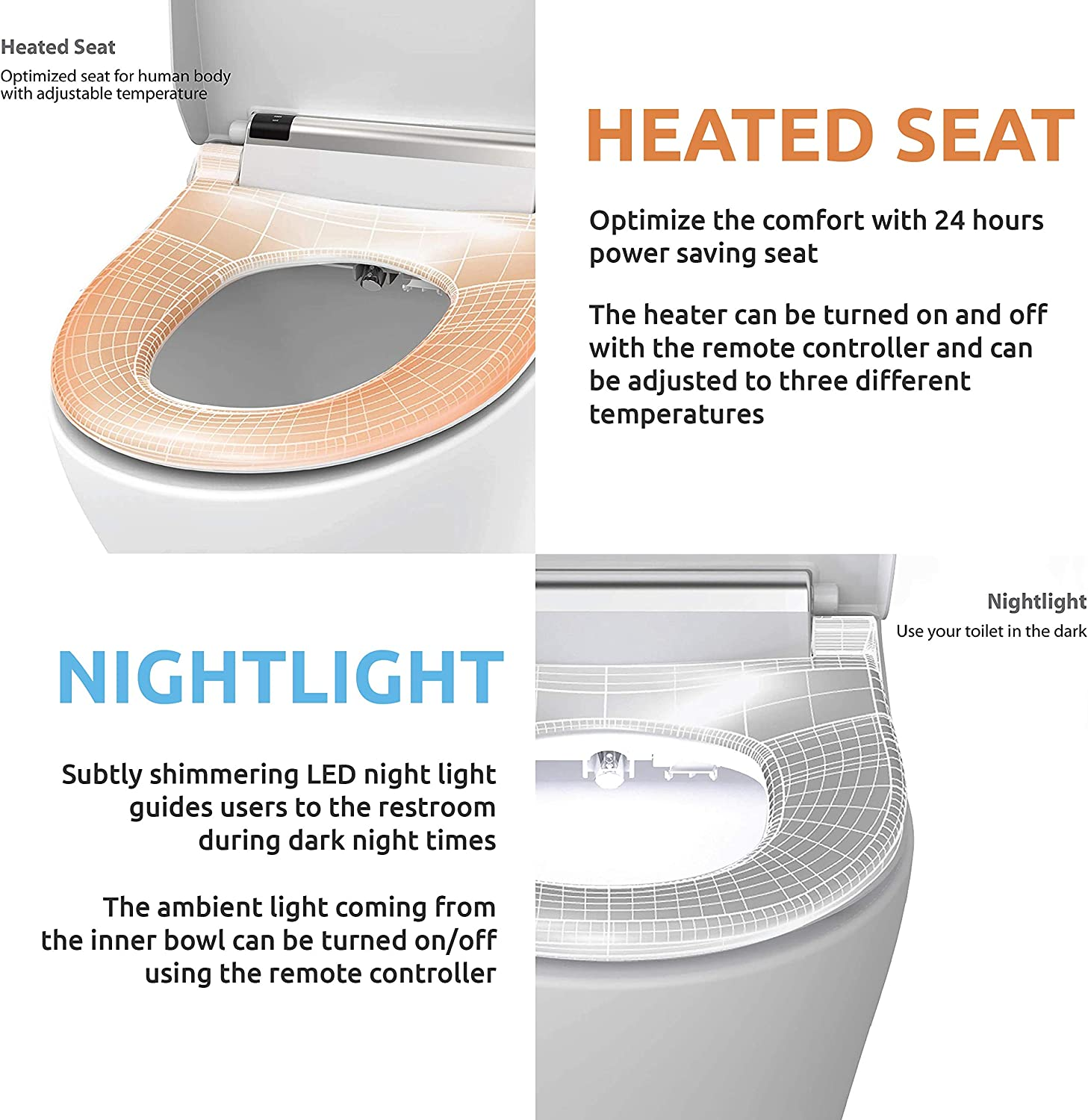 VOVO VB4000 Electronic Smart Bidet Toilet Seat,Elongated,Full Stainless Self-Cleaning Nozzle,Nightlight,Deodorization,Eco-Friendly Energy Saving,Heated Seat,Warm Dry and Water,White,Made in Korea