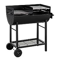 Detroit Tepro Holzkohlegrill XXL schwarz Garten Balkon ✔ Rollen ✔ rund ✔ rollbar ✔ stehend grillen ✔ Grillen mit Holzkohle ✔ mit Rädern