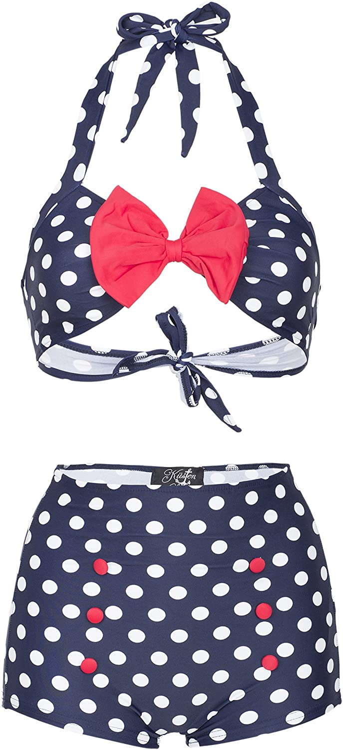 Küstenluder MADIE 50s RETRO Polka Dots PUNKTE Bow Pin Up BIKINI Set Rockabilly