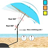 Sunphio Sun Shade Umbrella for Beach, Sand, Camping, Fishing, Picnic, Travel and Patio- Portable/Strong Windproof/Waterproof/Unbreakable/Sturdy/UPF/UV Protection/Lightweight - Big Long & Large