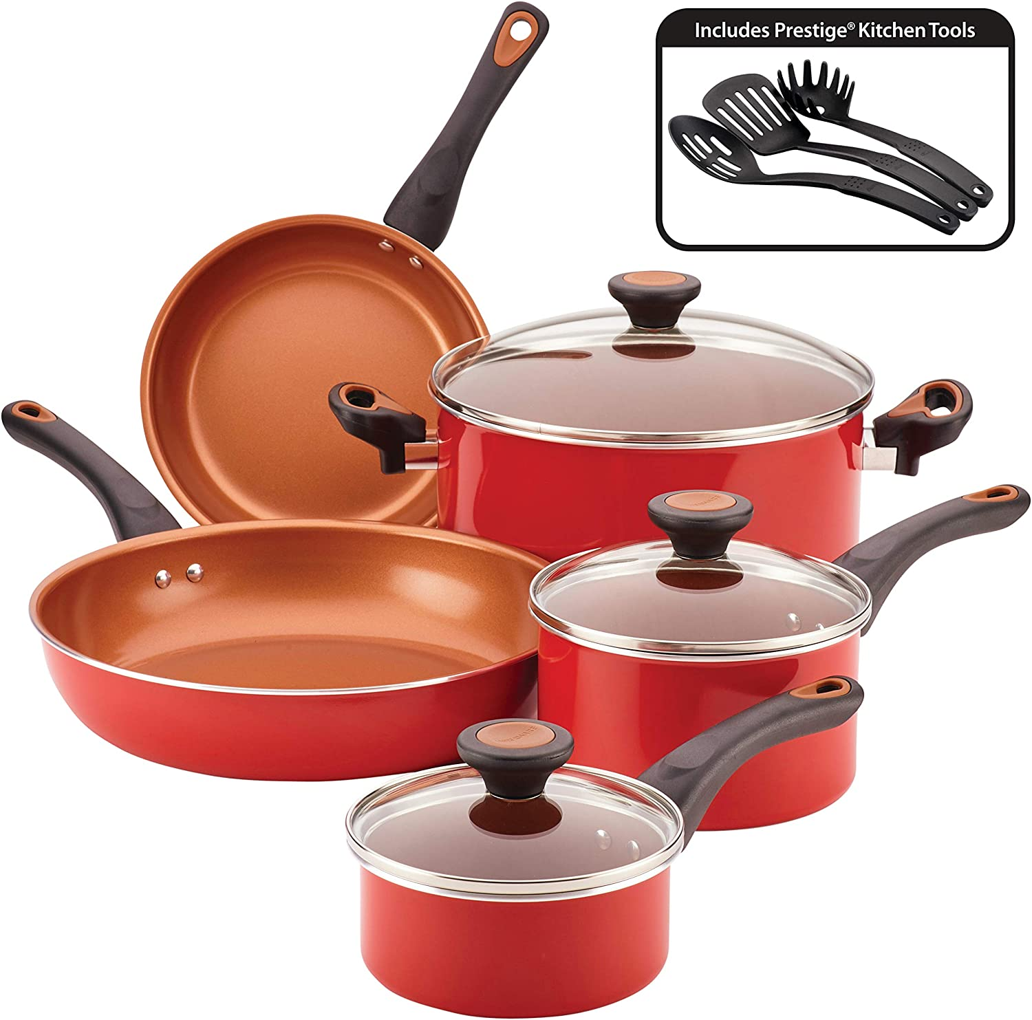 Farberware 10364 Glide Ceramic Nonstick Cookware Pots and Pans Set, 11 Piece, Red