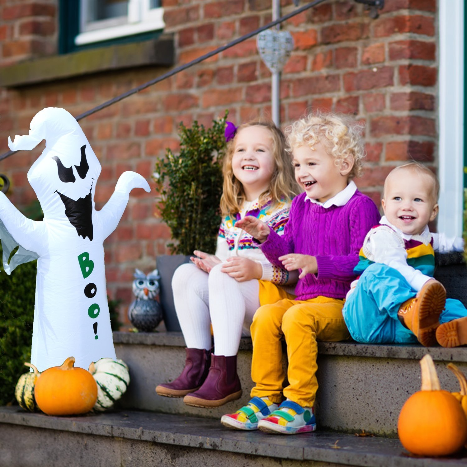 BrightTouch Inflatable Halloween Decorations - Ghost. Outdoor or Indoor (White) by BrightTouch (Image #2)