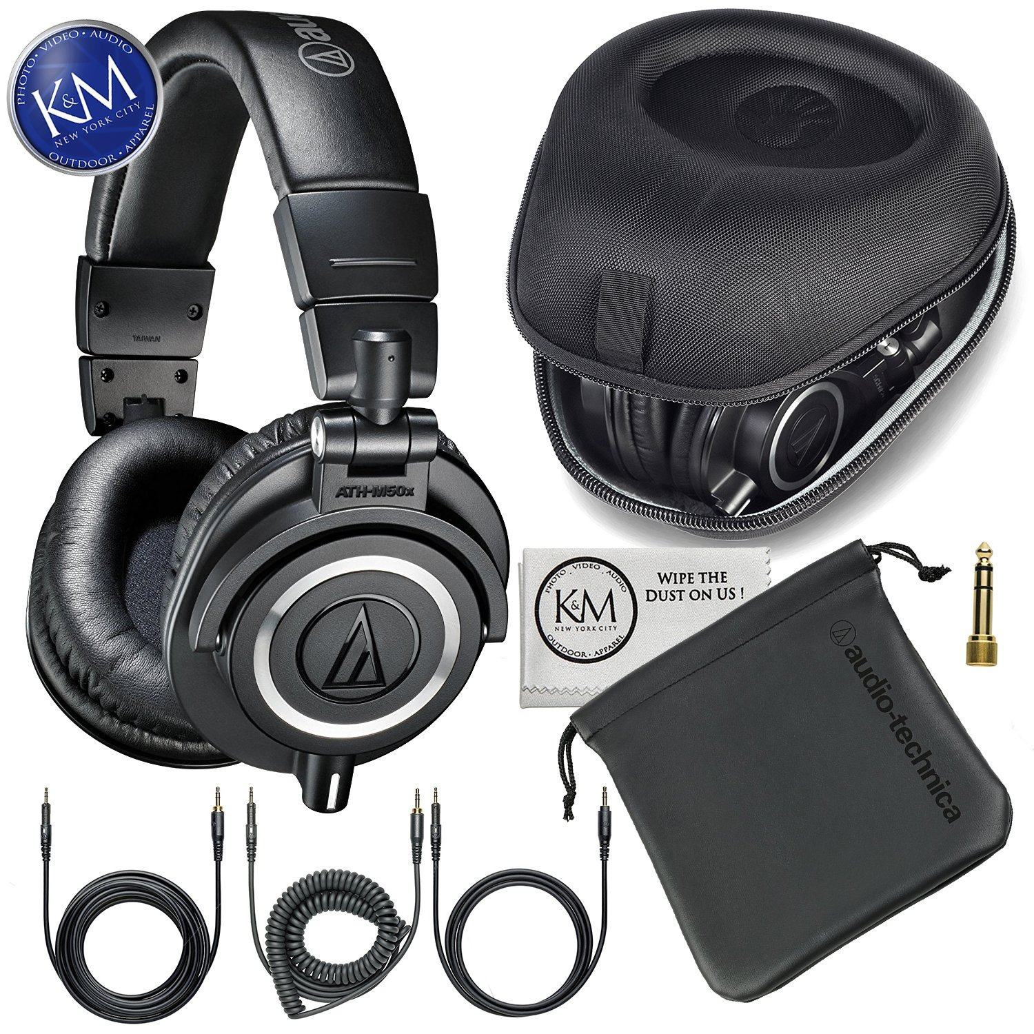 Audio-Technica ATH-M50x Professional Monitor Headphones + Slappa Full Sized HardBody PRO Headphone Case (SL-HP-07)