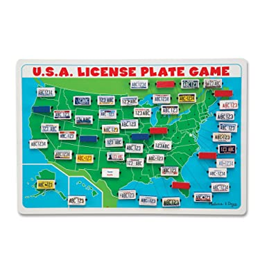Amazoncom Melissa Doug Flip To Win Travel License Plate Game - Us map made out of license plates