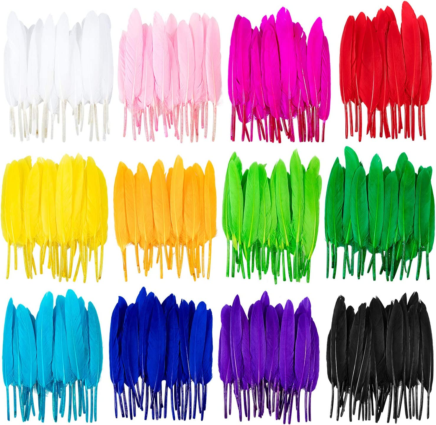 Whaline 360 Piezas Plumas de Colores, 12 Colores Pluma de Ganso Natural para Manualidades de Bricolaje, Aretes de Bricolaje, Decoración para el Hogar, Boda, Fiesta, Baby Shower (4-6 pulgadas)