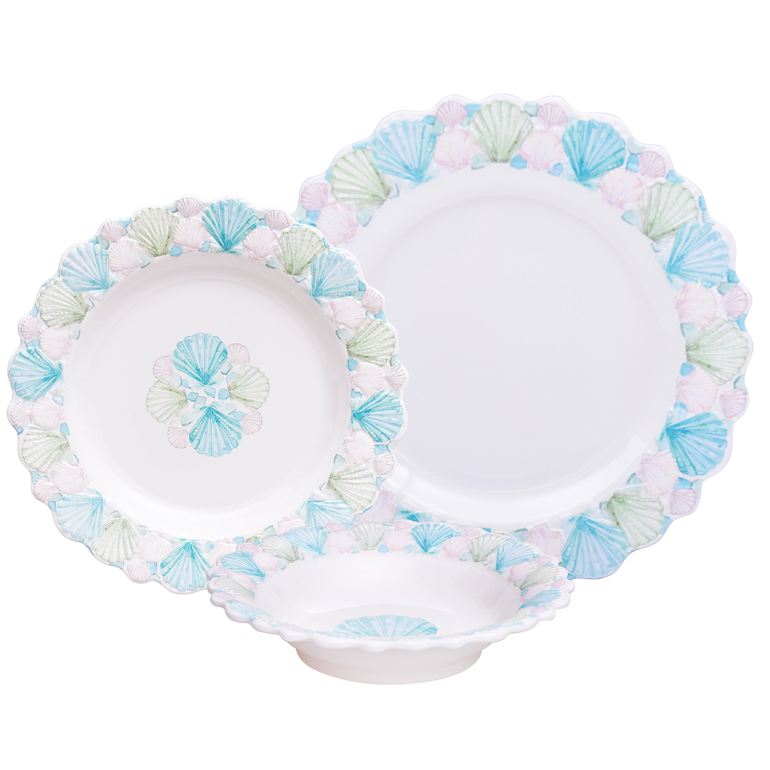 Decorative Nautical 12 Piece Melamine Dinnerware Set, Unique Dishes for Everyday Use, Service for 4