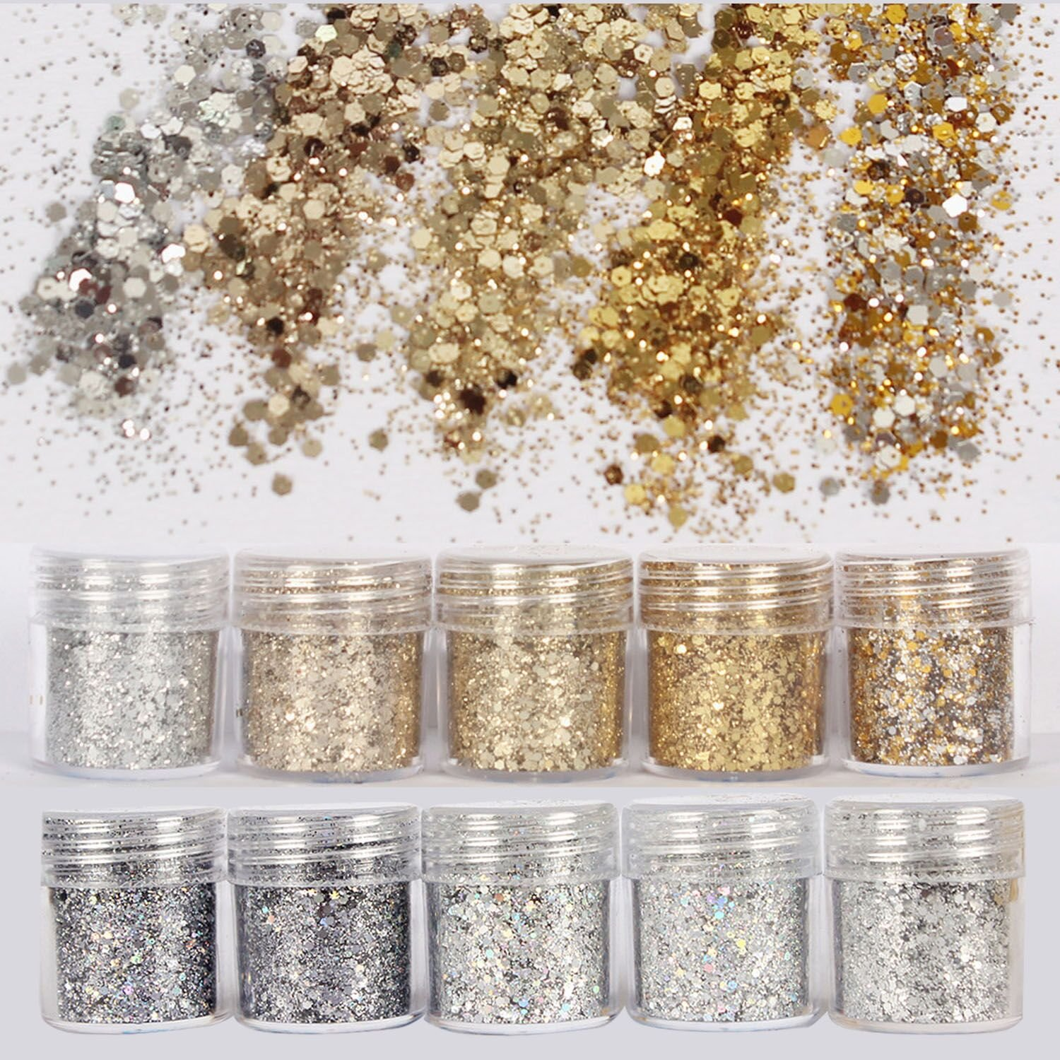 DaLin 10 Boxes Gold Silver Holographic Chunky Glitter Sequins Iridescent Flakes Ultra-thin Tips Colorful Mixed Paillette Festival Beauty Makeup Face Body Hair Nails Cosmetic Glitter