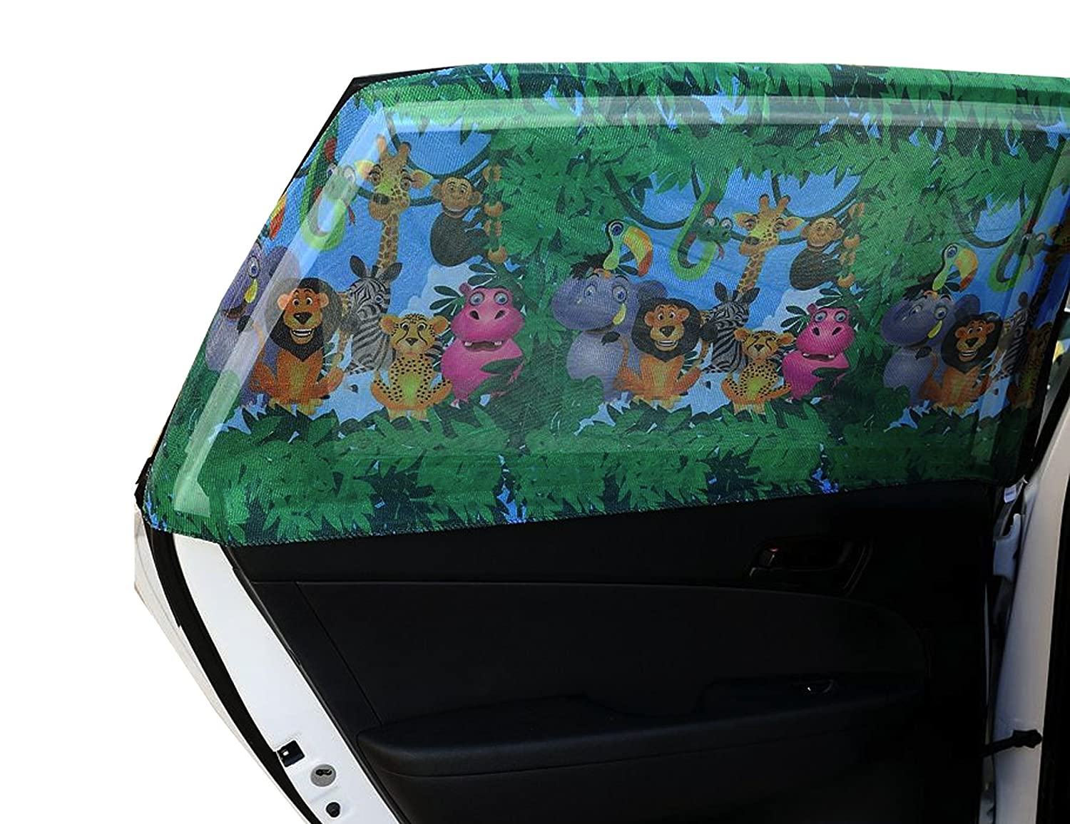 Auto sun screen LCC Curved Baby Car Sunshades with Animals for Rear Side Window Large Set of 2