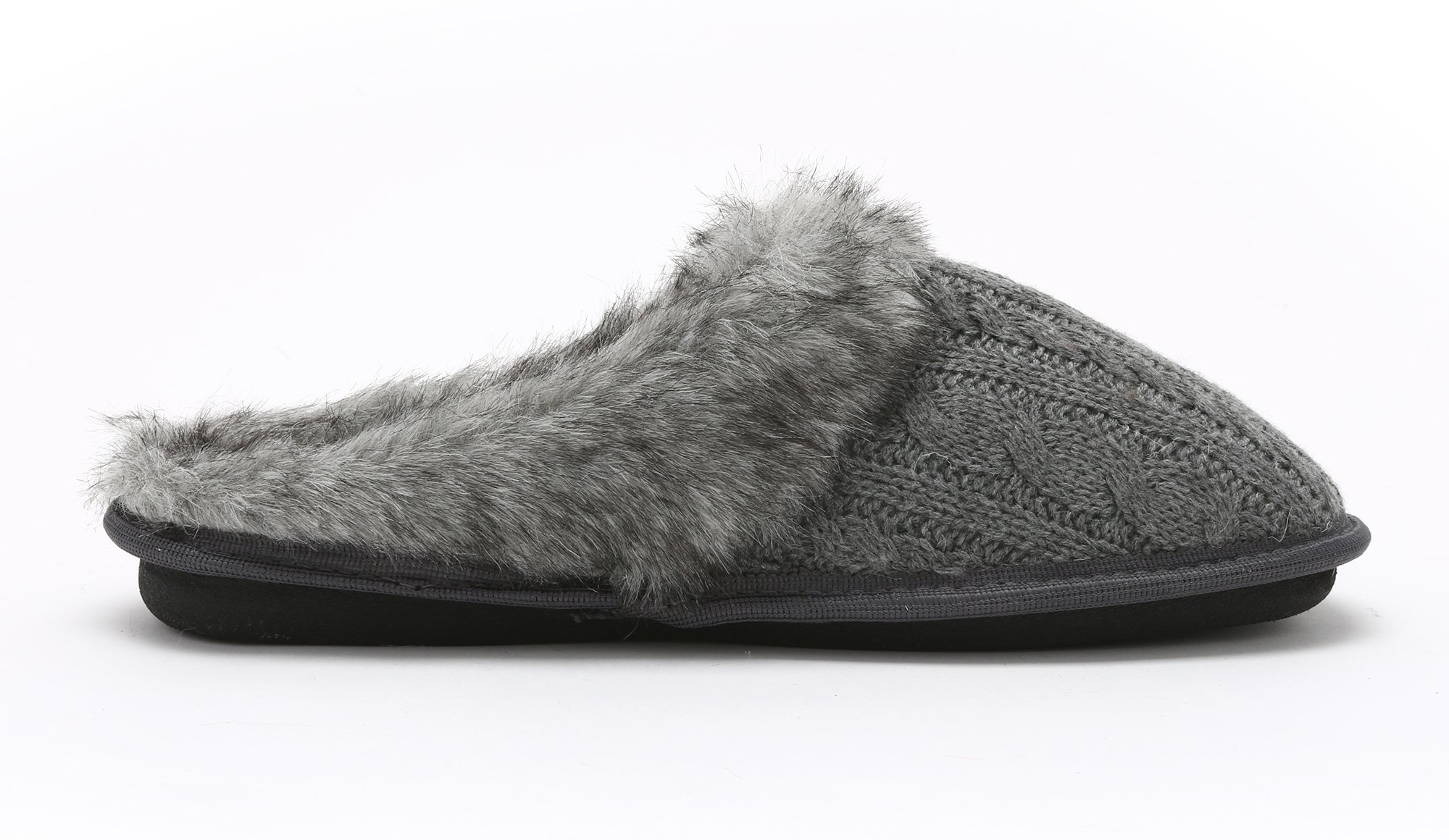 Pembrook Ladies Faux Fur + Cable Knit Slippers – Gray, Large - Comfortable Memory Foam Indoor and Outdoor Non-Skid Sole - Great Plush Slip on House Shoes for adults, women, girls by Pembrook (Image #6)