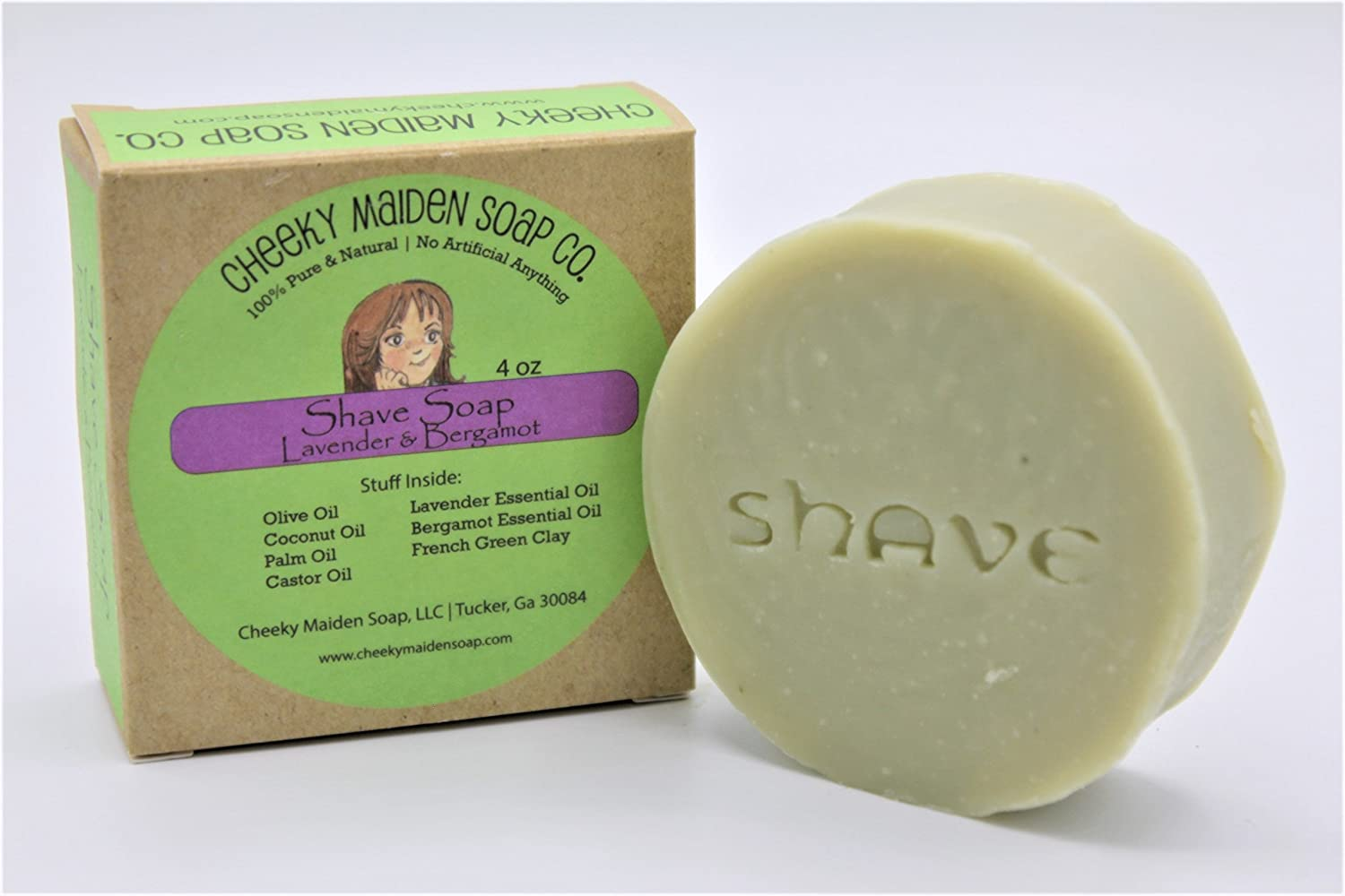 Cheeky Maiden Shave Soap 100% Natural Handmade with Saponified Oils of Olive, Coconut, Sustainable Palm, Castor Oil, French Green Clay, Bergamot, Lavender Essential Oil 4.5 oz Made in USA Cheeky Maiden Soap Co.