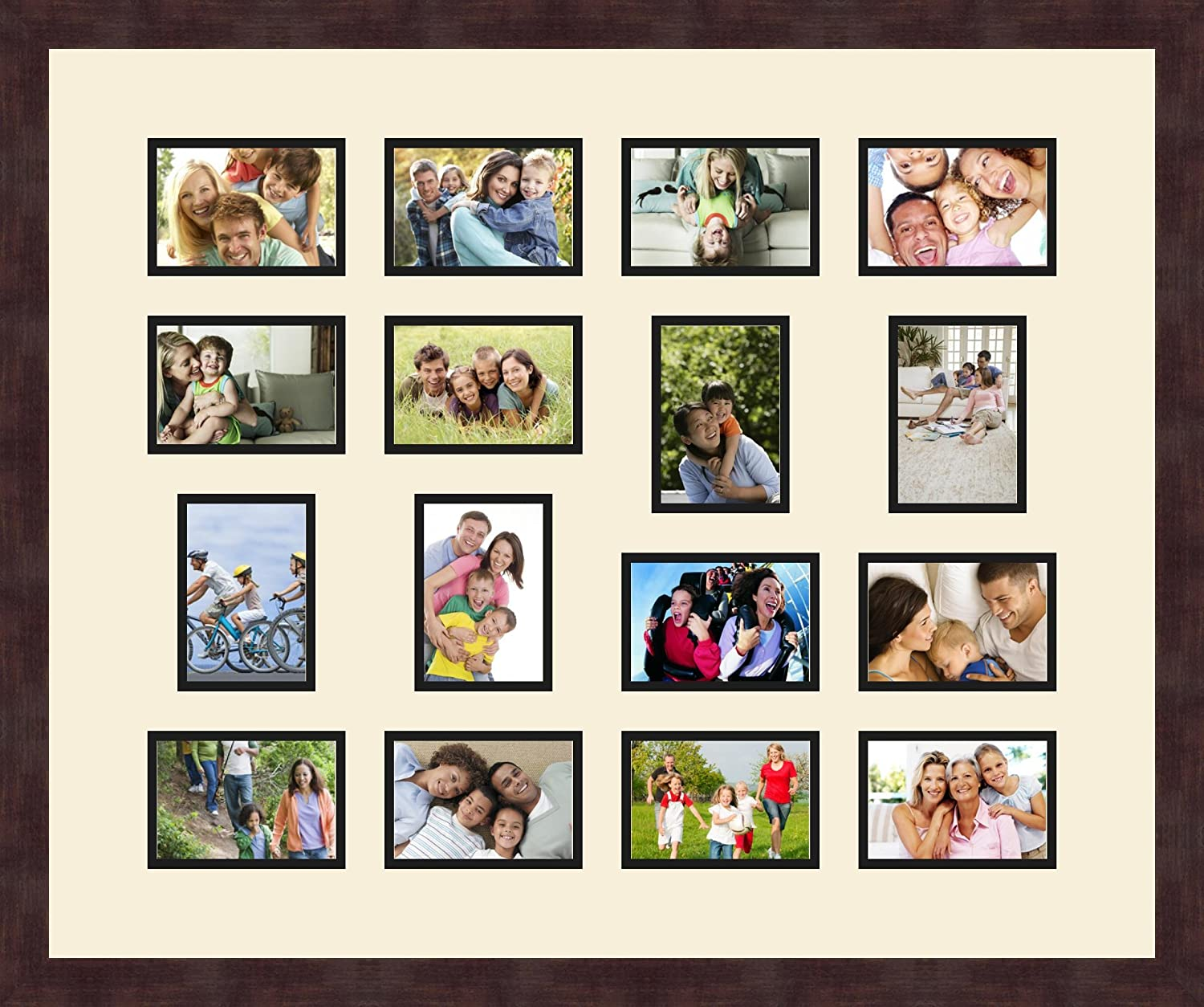 Art to Frames Double-Multimat-415-825//89-FRBW26061 Collage Frame Photo Mat Double Mat with 16-3.5x5 Openings and Espresso Frame