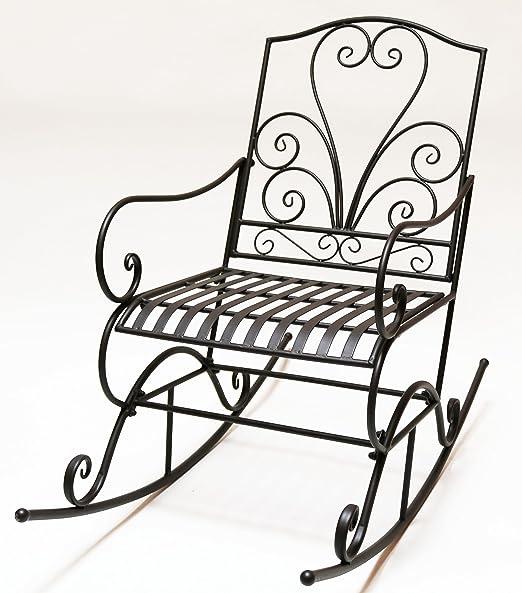 Sedia da esterno shabby in ferro con schienale a cuore