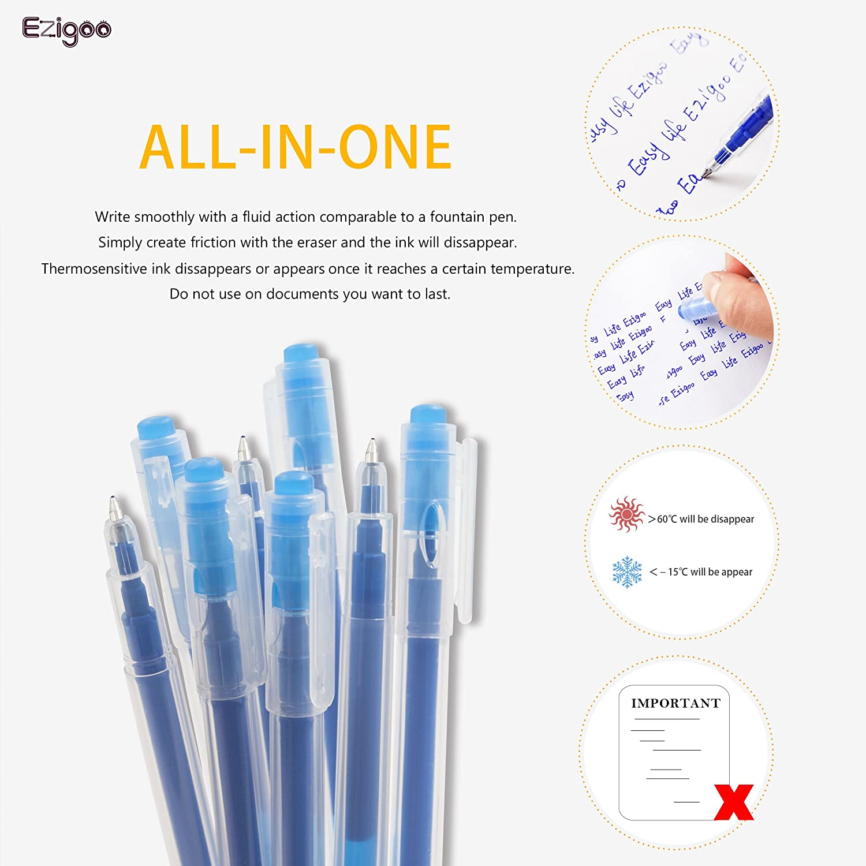 Ezigoo Confezione da 12 Penne Blu Ricaricabili Penne Cancellabili Punta 0.7 mm