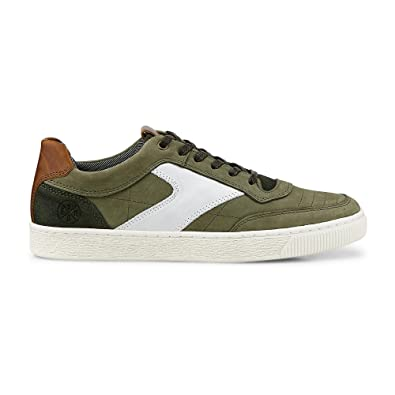 Cox Herren Herren Freizeit Schuh, grüne Leder Sneaker im