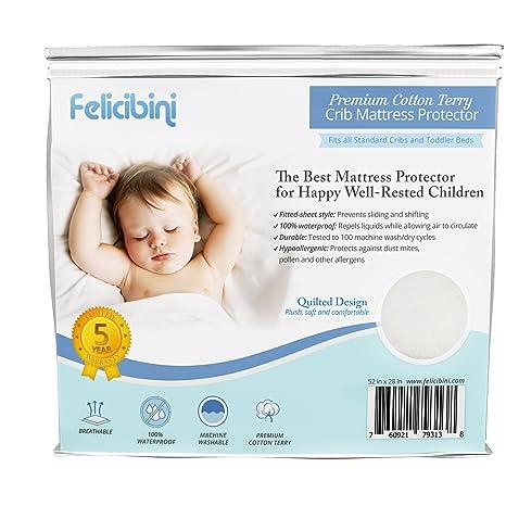 Bebé Protector De Colchón para cuna – resistente al agua suave y absorbente algodón acolchado superficie