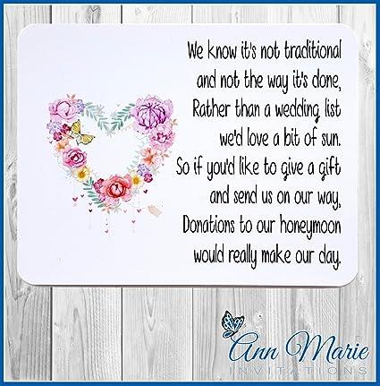 50 Personalised Wedding Money Poem Honeymoon Wish Poems Card Gift Poem Cards Mp1 50