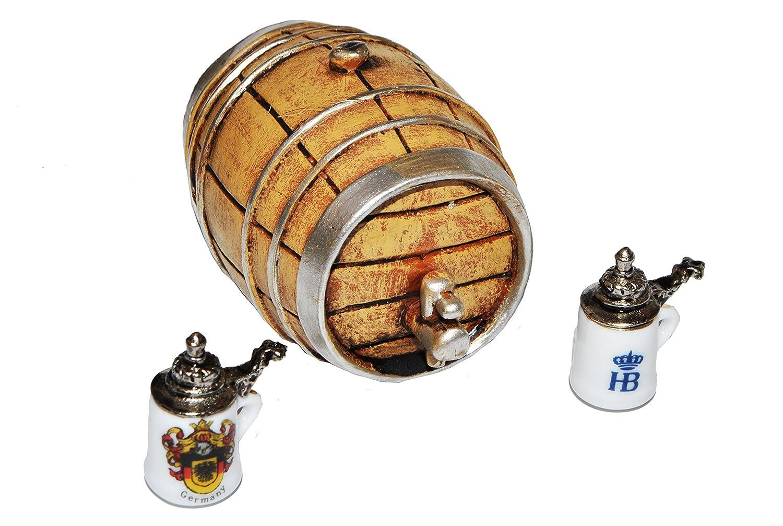 Miniatur Bierfaß mit 2 Bierkrügen - Maßstab 1:12 Holz / Metall ...