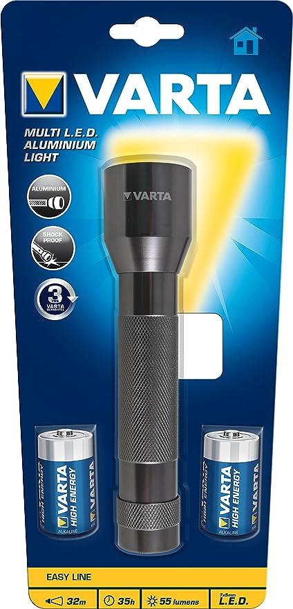 2x C Batterien 16628 Varta Taschenlampe LED Aluminium Light F20 inkl