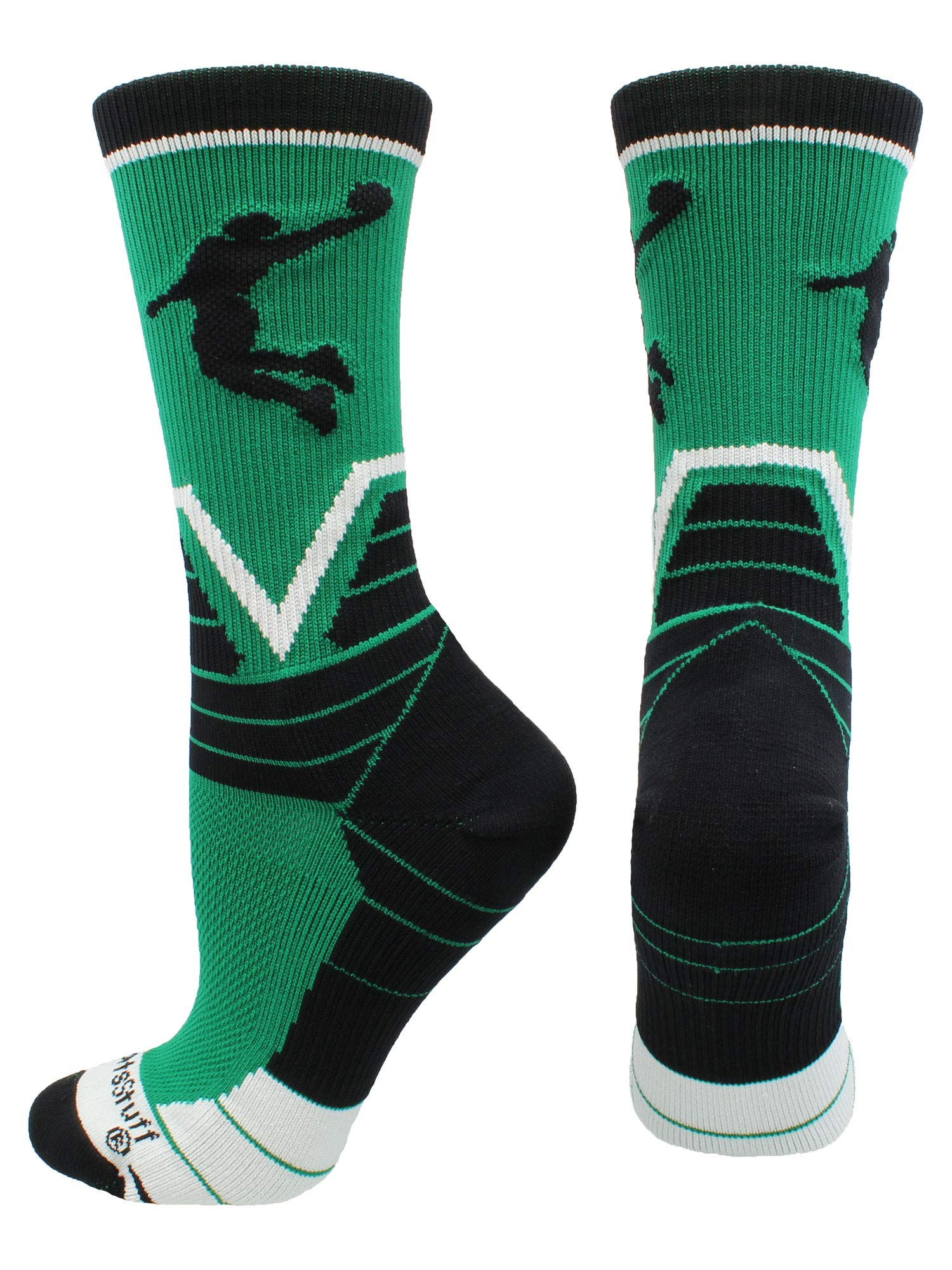 MadSportsStuff Basketball Player Victory Crew Socks (Kelly Green/Black/White, Large)