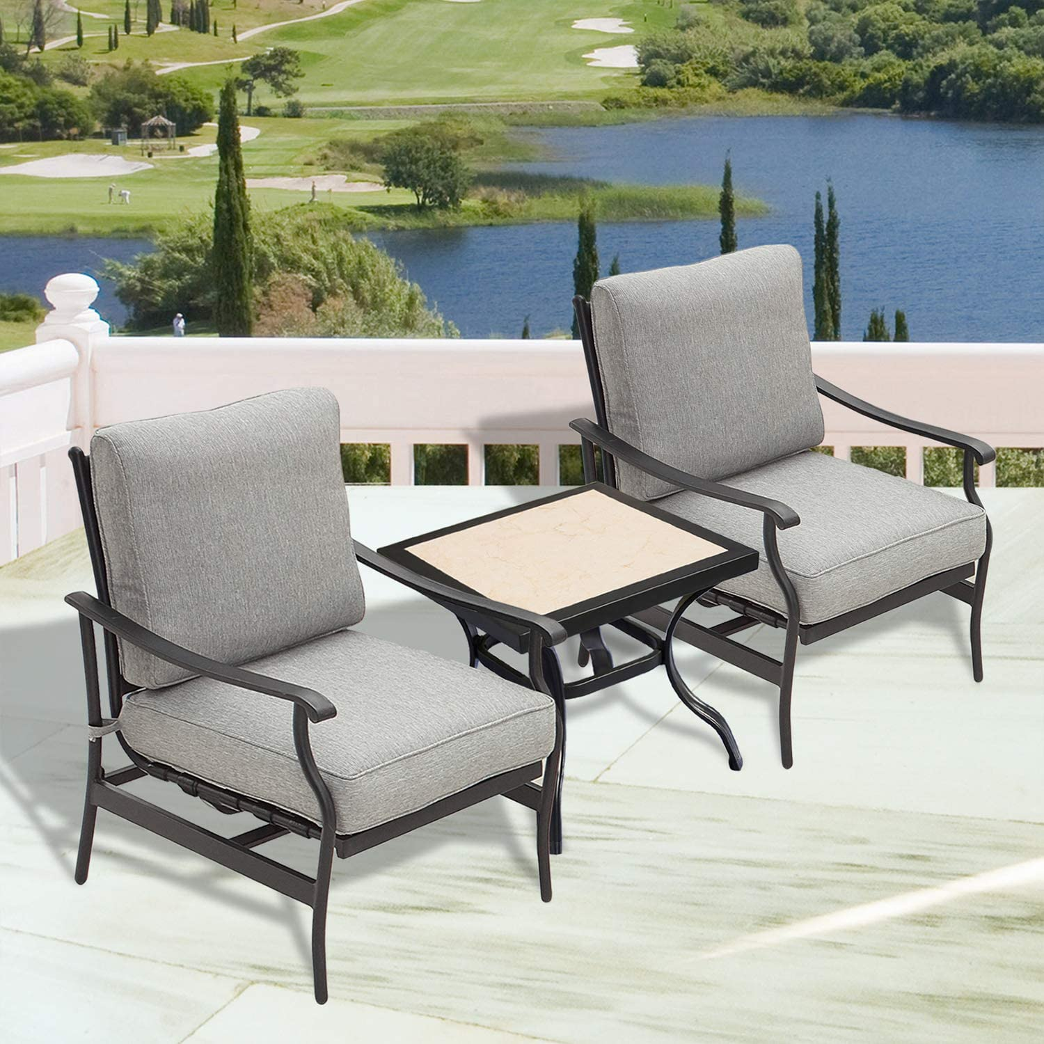 Amazon Com Patiofestival Outdoor Bistro Set Cushioned Rocking Dining Sofa Chairs Square Table With 5 1 Inch Seat Cushion Patio Conversation Sets 3pcs Garden Outdoor
