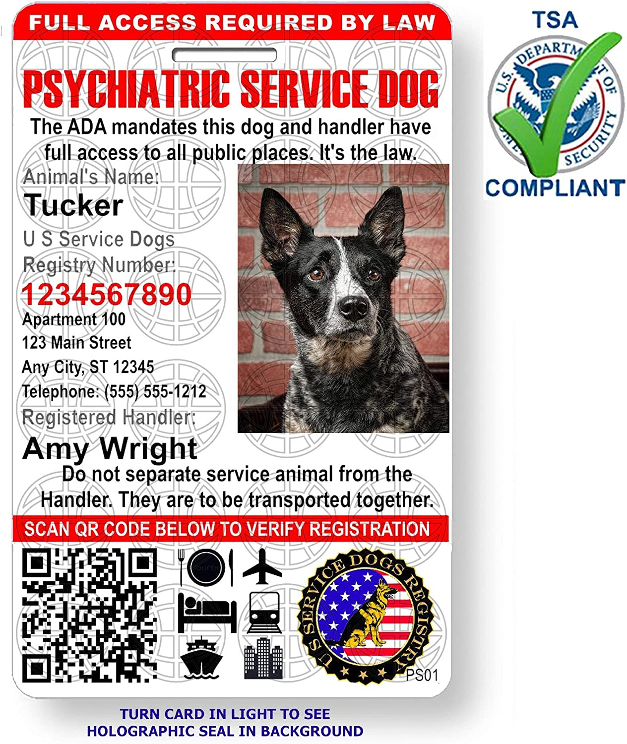 Amazon Com Just 4 Paws Custom Holographic Qr Code Psychiatric Service Dog Id Card With Registration To U S Service Dogs Registry Plus Id Holder Free Digital Id Portrait Style Pet Supplies