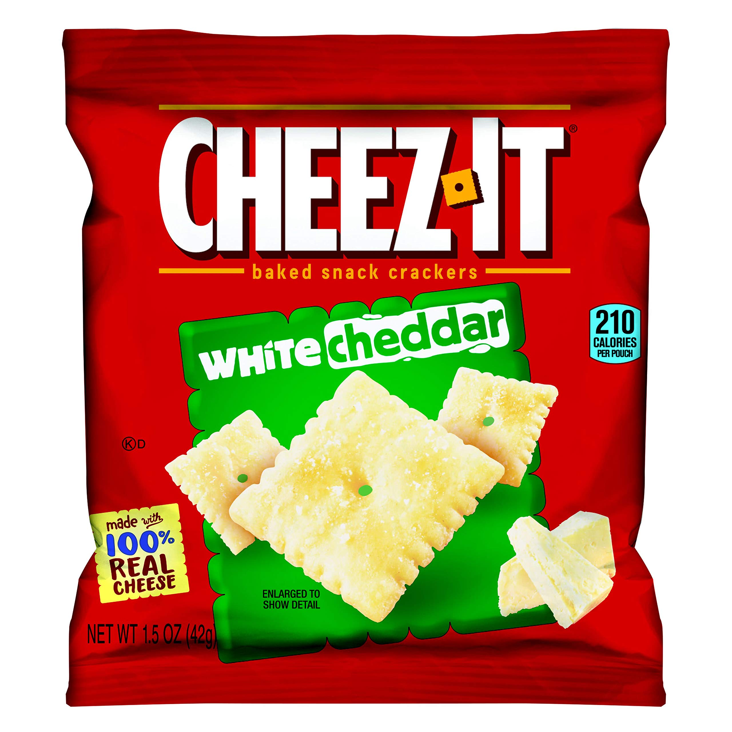 Cheez-It Baked Snack Cheese Crackers, White Cheddar, Single Serve, 1.5 oz Bag(Pack of 60)