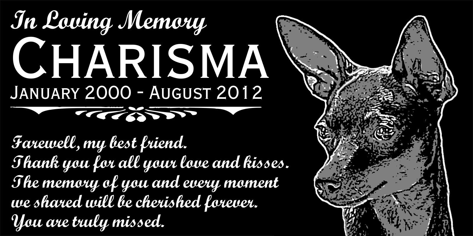 Personalized Miniature Pinscher Dog Pet Memorial 12''x6'' Custom Engraved Black Granite Grave Marker Head Stone Plaque CHA2 by Lazzari Collections (Image #1)