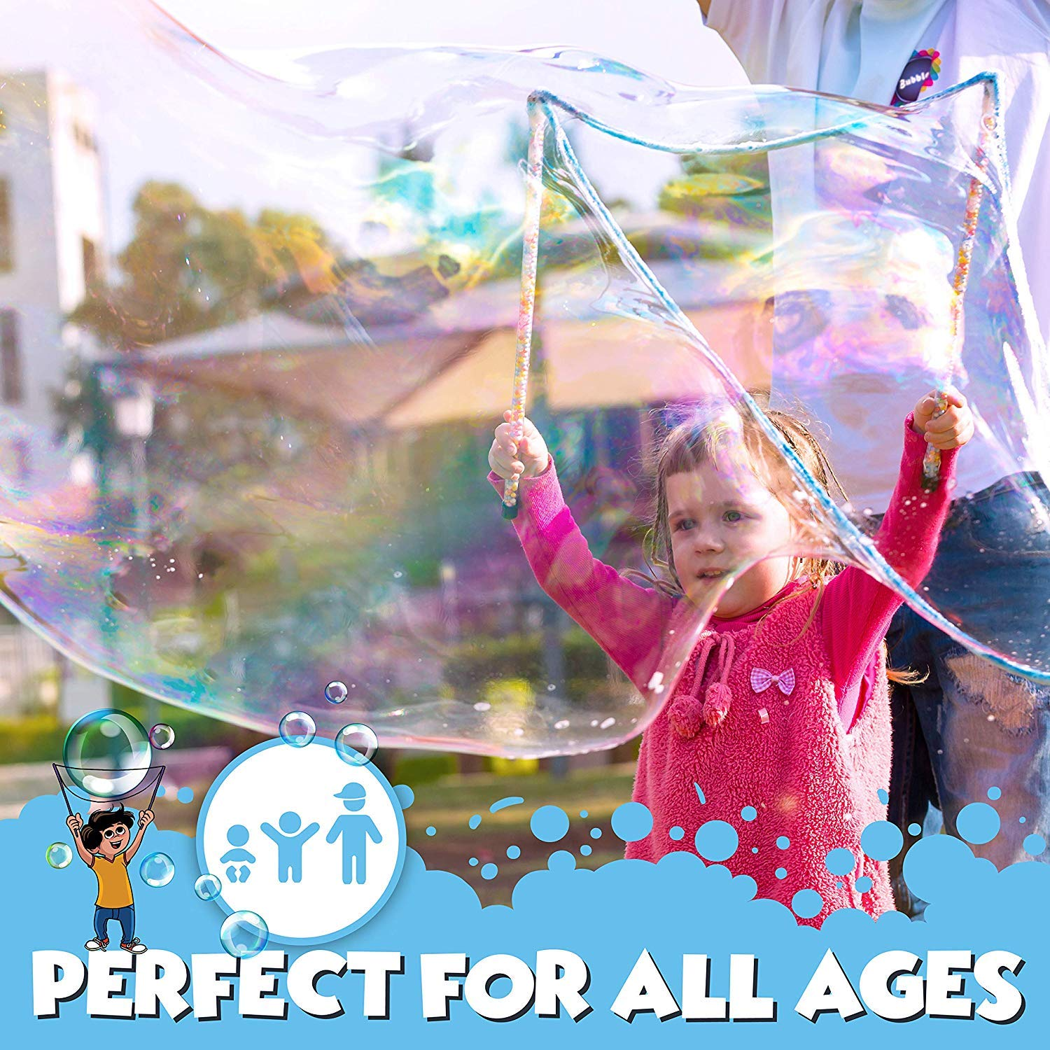 BIGBUA Giant Bubbles For Kids - Complete Fun Bubble Making Set. The Perfect Outdoor Toys for the Entire Family. 3-Piece Set Incl. Bubble Wand, Mini Hoop and Mixing Powder