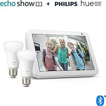Echo Show 8, Tela de color gris claro + Philips Hue White Pack de 2 bombillas LED inteligentes, c...