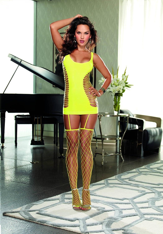 503400e64cd Dreamgirl Women s Capri Garter Dress with Fence Net Stockings 7876 16230  larger image