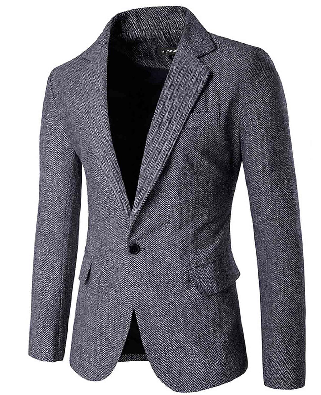 Nidicus Mens Herringbone Fit British Style Blazer One Button Sport Coat