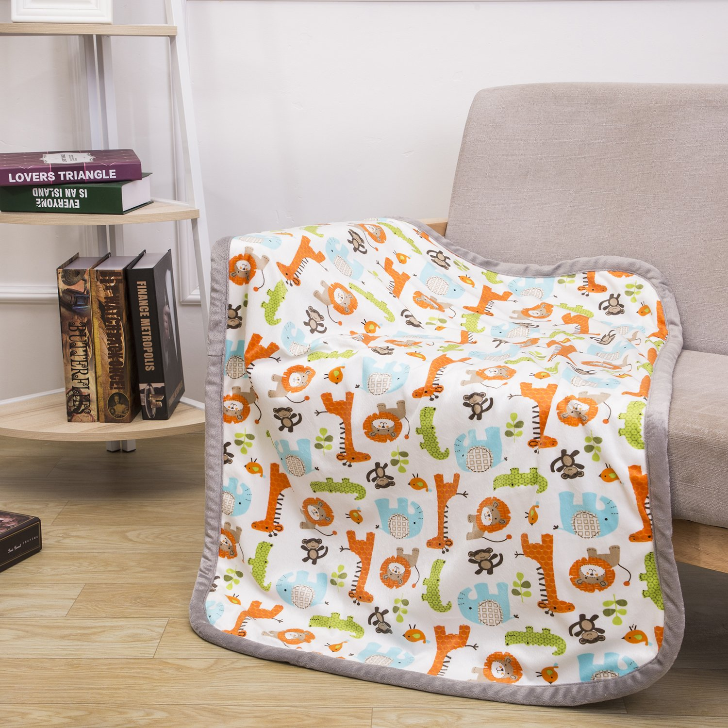 Breathable Baby Blanket Safari Print Fleece Best Registry Gift for Newborn Soft- Perfect for Prince and Princess 30'' x 40'' (Safari)