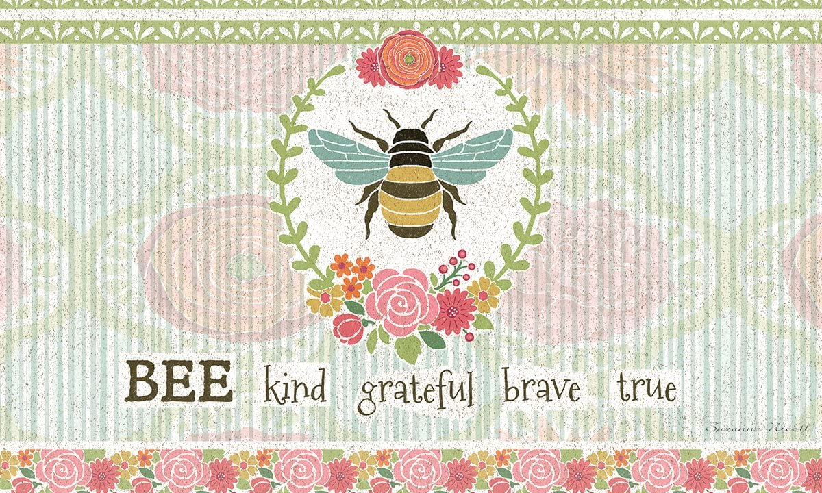 Lang 3210071 Bee Kind Door Mat by Suzanne Nicoll, 30 x 18