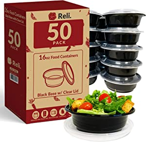 Reli. Meal Prep Container Bowls, 16 oz. (50 Pack) - Reusable 16 oz Meal Prep Bowls/Food Containers - Microwavable Bowls with Lids, Black Food Storage Containers (Black)