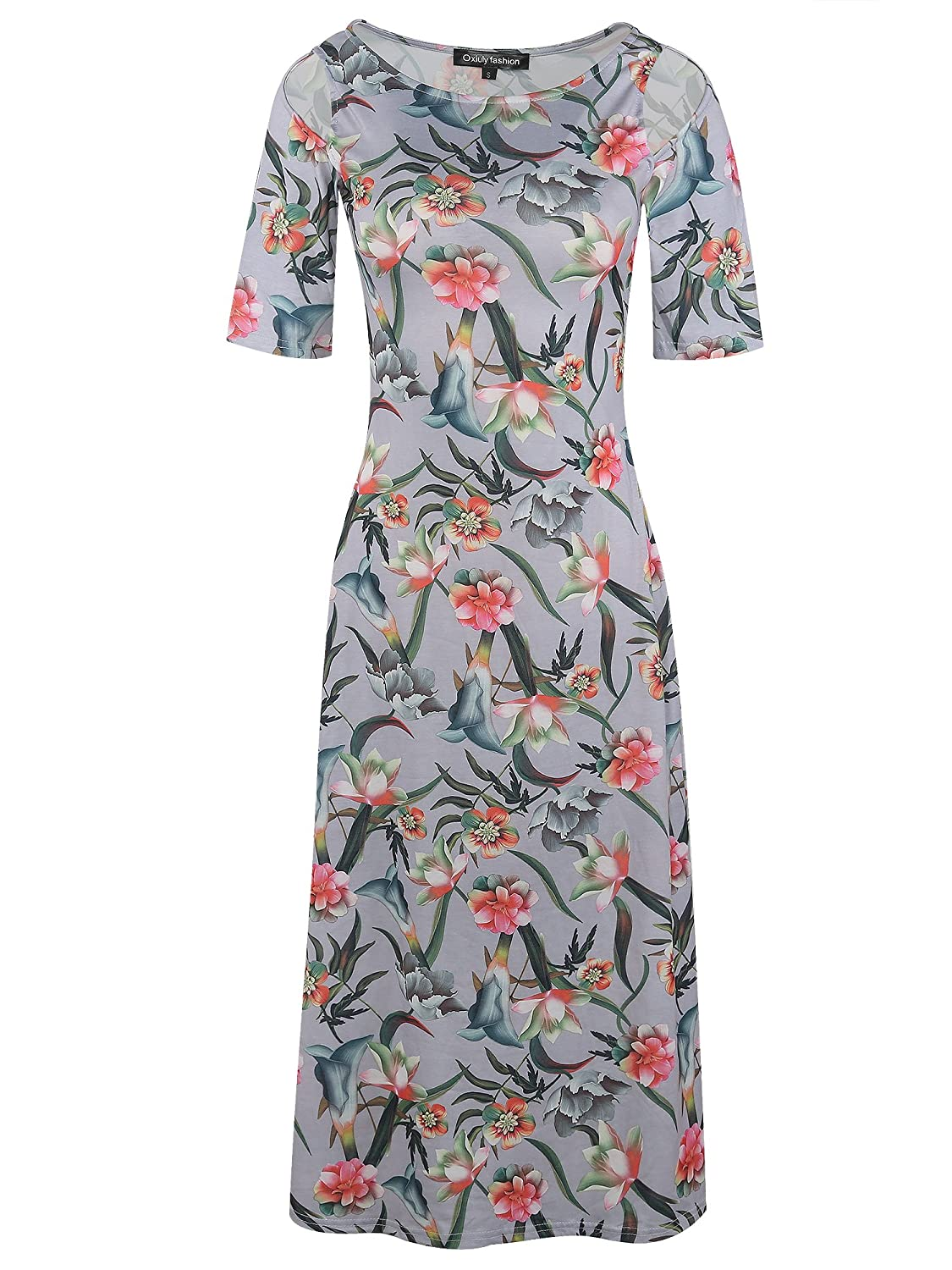 94d86fc2fb818 It is very soft and comfortable. Note:Hand-wash and Machine washable, Dry  Clean.Women\'s Vintage Half Sleeve Casual Floral Flare Party Cocktail Swing  A-line ...